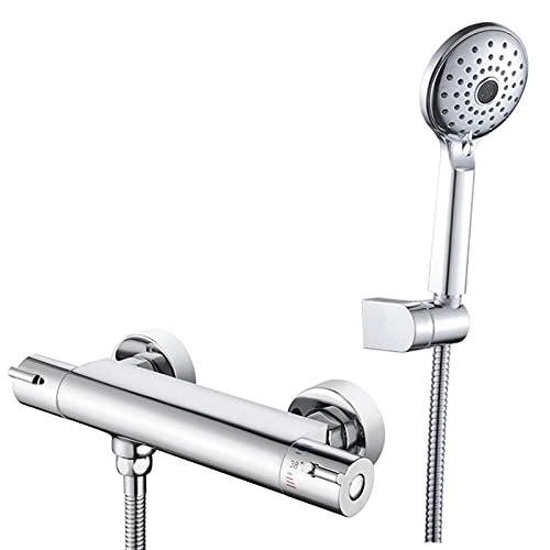 SERTNA Thermostat Badewannenarmatur inkl. Handbrause und Halter, Wasserhahn für die Badewanne mit Verbrühschutz, Wannenthermostat Chrom