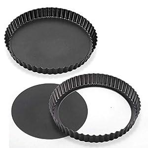 """CALIDAD PREMIUM: Nuestra sartén suelta para quiche antiadherente de 8.86 """"está hecha de una resistente construcción de acero al carbono, de acuerdo con el estándar de la FDA. Combinación perfecta de 2 piezas y es necesaria para la familia y las fiest..."""