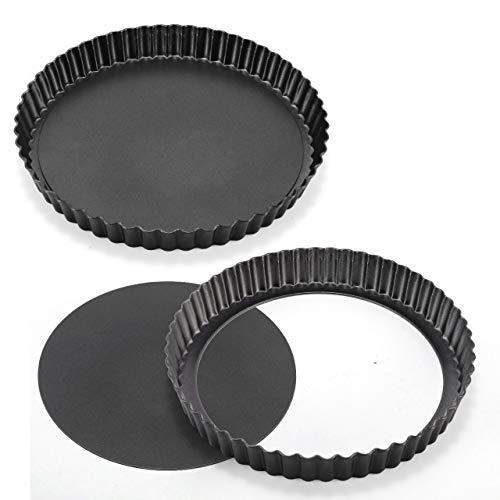 WisFox 2 Pack Non-Sticks 8,8 Zoll Quiche Tart Pfanne, abnehmbare Loose Bottom Tart Pie Pan, Runde Tart Quiche Pfanne mit abnehmbaren Basis