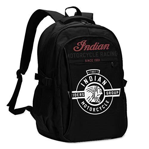 Indischer Motorrad-Laptop-Rucksack, alte Schultasche mit USB-Ladeanschluss, Mehrzweck-Rucksack-Computertasche schwarz