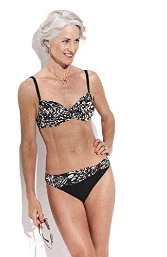 Bañador mujer bikini Triumph aro sin relleno Slip medio Batik Bloom negro/blanco 48