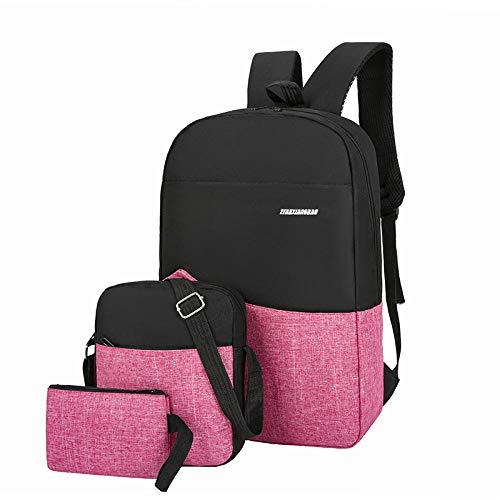 BeniNueva mochila informal de tres piezas para computadora de negocios-Rosa