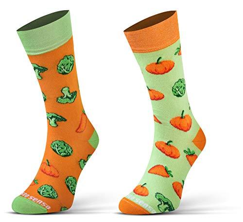 Sesto Senso Calcetines Divertidos Algodón Mujer Hombre Locos Coloridos Funny Socks Calabaza Brócoli Repollo Zanahoria 43-46 Verduras