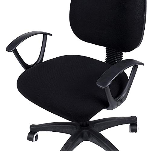 smiry Stretch Jacquard Office Computer Chair Seat Covers, Removable Washable Anti-dust Desk Chair Seat Cushion Protectors - Black