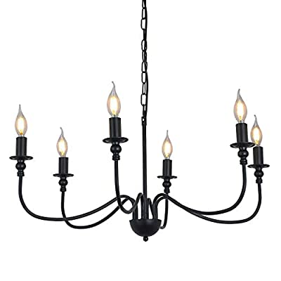 6-Light Farmhouse Chandelier Black Dining Room Lighting Fixtures Hanging, Iron Rustic Industrial Candle Ceiling Pendant Light for Foyer Living Room Kitchen Island Bedroom