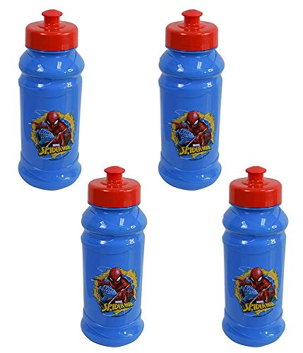 Disney 4-Pack Marvel's Spider-Man Kids 16oz Pull-Top Water Bottles, Blue/Red,...