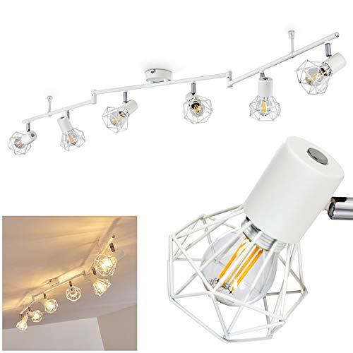Deckenleuchte Gullspang, Deckenlampe aus Metall in Weiß, 6-flammig, mit verstellbaren Strahlern, 6 x E14-Fassung max. 40 Watt, Spot im Retro/Vintage Design m. Gitter-Optik, LED geeignet