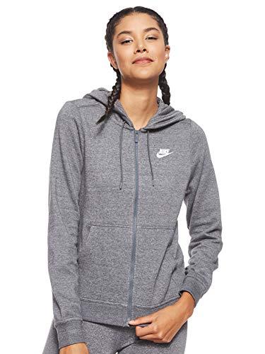 Nike Damen W NSW Hoodie Fz FLC Kapuzenjacke, Grau (charcoal Heather/charcoal Heather/white), XS