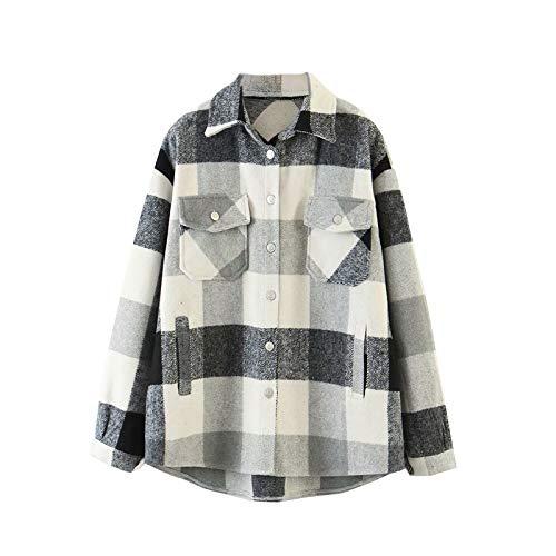 Chaqueta de manga larga para mujer, con bolsillos gris S