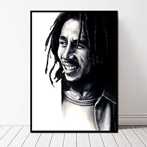TELEGLO (No Frame) 50 * 70cm Reggae Rock Music Star Musik Poster Schwarz-Weiß-Kunst Leinwand Poster Wandbild für Wohnzimmer