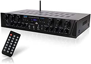 Wireless Home Audio Amplifier System - Bluetooth Compatible Sound Stereo Receiver Amp - 6 Channel 600Watt Power, Digital LCD, Headphone Jack, 1/4'' Microphone IN USB SD AUX RCA FM Radio - Pyle PTA66BT