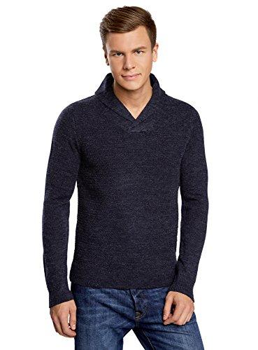 oodji Ultra Hombre Suéter de Punto Texturizado con Cuello Vuelto, Azul, ES 46-48 / S