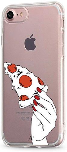 AVANA Kompatibel mit iPhone SE 2020 / iPhone 8 / iPhone 7 Hülle Schutzhülle Flexibles Case Schutz Durchsichtige Transparente Silikon TPU Muster Handyhülle Clear Cover Motiv (Pizza Time)