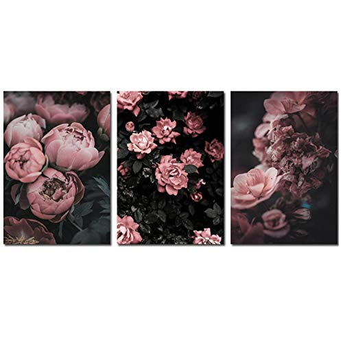 NIESHUIJING pioenroos bloem canvas poster botanical print muurkunst schilderij decoratie foto-50x70cm geen lijst
