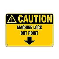 注意マシンロックアウトポイント壁錫サイン金属ポスターレトロプラーク警告サインヴィンテージ鉄の絵画の装飾オフィスの寝室のリビングルームクラブのための面白いハンギングクラフト