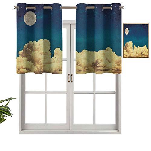 Hiiiman Cortinas cortas rectas con ojales de cocina, cenefas de fantasía, estrellas, luna llena y nubes esponjosas, estilo vintage, juego de 2, 54 x 24 pulgadas para sala de estar