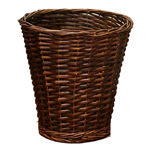 CHUTD Woven Wicker Trash Can Rattan Waste Paper Basket,household Round Garbage Can Rubbish Bin Whitout Lid,decorative Storage Basket For Bedroom Kitchen Office C