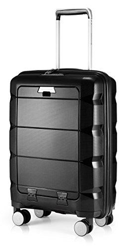 HAUPTSTADTKOFFER - Britz - Bagaglio a mano con scomparto per laptop, trolley cabina valigia rigida leggera, TSA, 4 ruote, 55 cm, 34 L, Nero