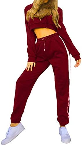 Womens 2 Piece Outfit Sport Bodycon Crop Top Long Pant Tracksuit Pullover Hoodie Sweatpants Sport Jogger Set