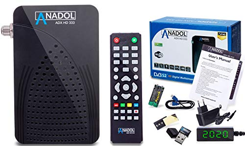 Anadol HD 333 1080p Full HD-TV Mini Digital-Receiver - Multistream & YouTube - Full-HD Mini-Receiver für Satellit - HDMI USB - Astra HOTBIRD TÜRKSAT vorinstalliert - inkl. HDMI Kabel & WiFi Stick