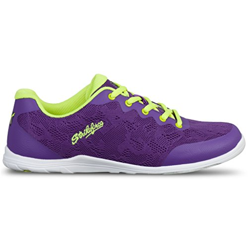 KR Damen Womens Lace Bowling Shoes Purple/Yellow Strikeforce Bowlingschuhe, Spitze, Violett/Gelb, 40.5 EU