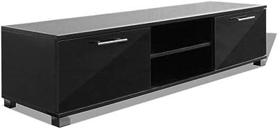 Festnight TV Cabinet Entertainment Unit with Storage Modern Design Style High Gloss Black 120 x 40.3 x 34.7 cm