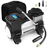 Terratek 12V Car Tyre Inflator Digital, Air Compressor Tyre Pump LED Light, Storage