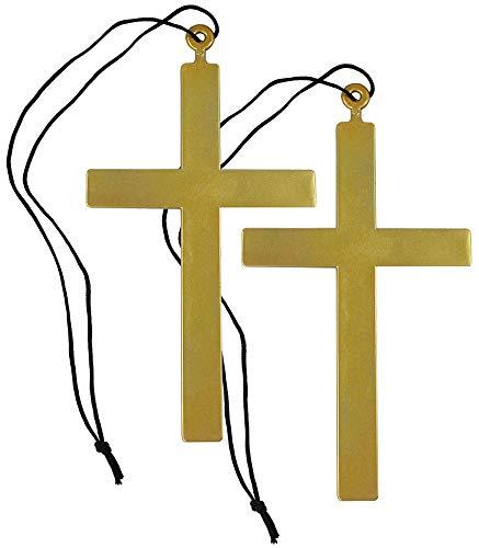 com-four® 2 Halsbänder mit großen Priesterkreuzen zum Verkleiden an Fasching, Karneval oder Halloween