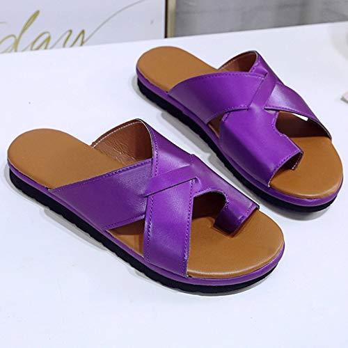 XYY Zapatos de Cuero cómoda Plataforma Plana Suela de PU for Las Mujeres Casual Suave Dedo Gordo del pie de la Sandalia de corrección ortopédica con juanete Corrector (Color : B, Size : 43)