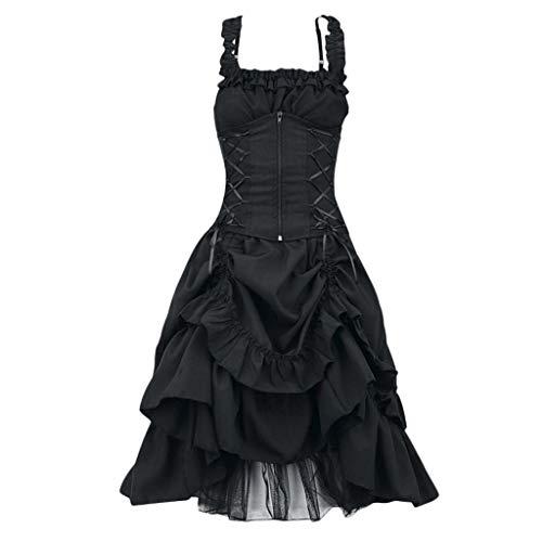Eaylis Damen Cosplay Gothic Kleidung Binggong Kleid Mittelalter Kostüm Punk Karneval Kostüm Frau Kurzarm Steampunk Minikleid Punk Schnürung Rückenfrei Kapuzen Party Vintage Kleid T-Shirtkleid