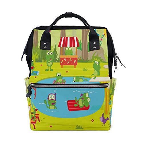 Sweet grape Frog Pool Party Multi-function Diaper Bags Backpack Travel Bag
