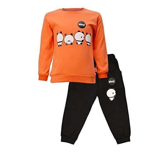 CATCUB Kids Cotton Panda Printed Clothing Set (CC-03-5-6; Orange; 5-6 Years)