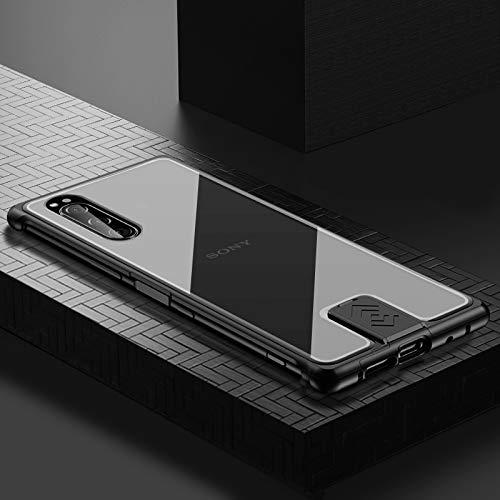 Sony Xperia 5 ケース アルミ バンパー 航空宇宙アルミ + 背面 強化 ガラス [ 耐衝撃 + 最軽量 ] 落下保護 おしゃれ 格好いい 日本版 docomo SO-01M au SOV41 エクスペリア5 ケース 携帯カバー (Xperia 5, ブラック)