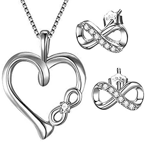Conjunto de joyas para mujer y niña, plata de ley 925, circonita, collar y pendientes, Plata esterlina Auténtica plata de ley 925. Plata, Cubic Zirconia,