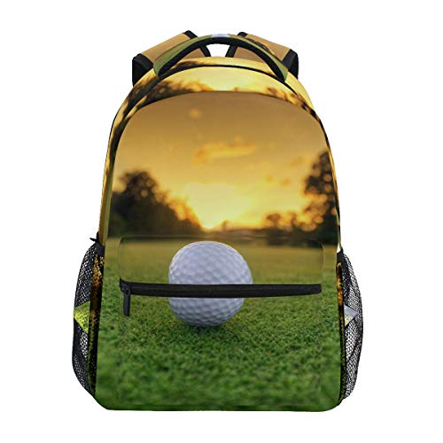 BKEOY Rucksäcke Sunset Green Golf Course Schule Buch Tasche Reise Wandern Camping Daypack