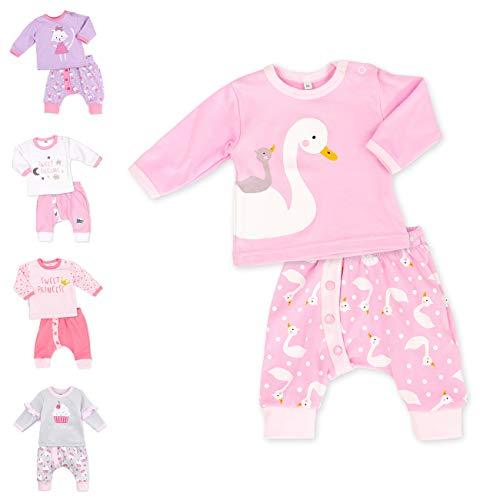 Baby Sweets 2er Baby-Set mit Hose & Shirt für Mädchen/Baby-Erstausstattung in Rosa mit Schwan-Motiv/Babykleidung-Set aus Baumwolle für Neugeborene & Kleinkinder in Größe: 6 Monate (68)