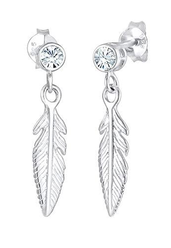 Elli Pendientes Boho de plumas de mujer con cristales en plata esterlina 925