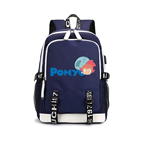 Ponyo on The Cliff Pencil Cases Anime Printing Design Daypack Trend Pattern Design Schoolbag Waterproof Backpack for Boys and Girls Unisex (Color : A01, Size : 30 X 15 X 43cm)