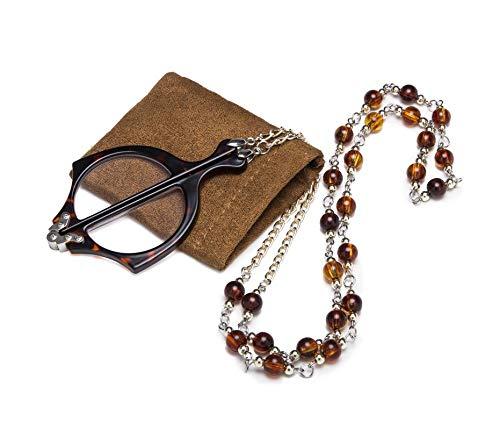 Eyekepper Mini Plegables Gafas De Lectura Colgante Collar Lupa, Tortoise +1.75