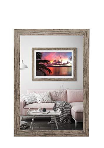 rahmengalerie24 Bilderrahmen 50x70 cm Rahmen Wildeiche Holz Acrylglas ohne Passepartout Portraitrahmen Fotorahmen Wechselrahmen für Foto oder Bilder MDF Dekorahmen ohne Bild Alice