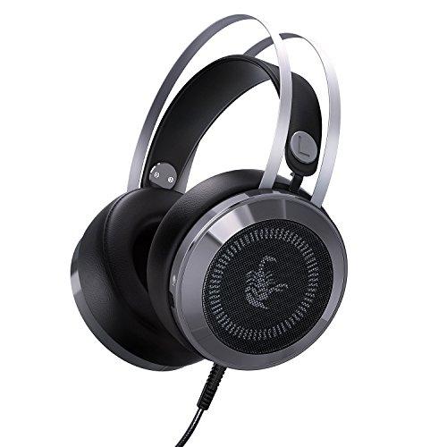 Aukey Gaming Headset LED Beleuchtung über Ohr Kopfhörer Stereo Noise Cancelling mit USB-Port, 3,5mm Audio-Splitter Kabel, Mikrofon und Lautstärkeregler–Remasuri