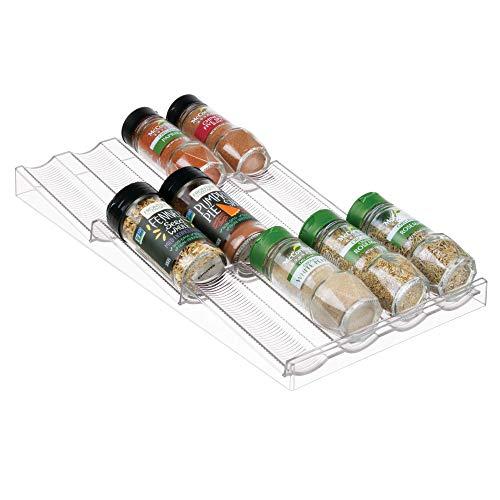 mDesign Organizador de Especias – Práctico especiero para Usar como Organizador de cajones – Estante para Especias en plástico – Traslúcido