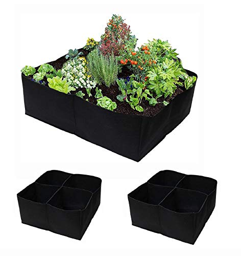 2 Pcs Plant Grow Bags 30 Gallons 4 Grids Square Heavy Fabric Raised Garden Bed Pot for Vegetable Large Durable Breathe Cloth Planting Container for Potato Carrot Onion Flower2 2 FT X 2 FT