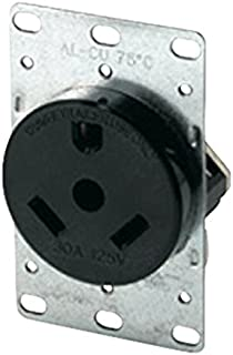 Eaton 1263 30-Amp 2-Pole 3-Wire 125-Volts Heavy Duty Grade Flush Mount Power Receptacle, Brown