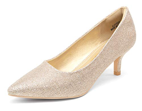 Vepose Women's Gold Glitter Low Heels Pumps Dress Shoes Casual Wedding Bridal Shoes Pumps for Women(8,Low Pump-033-Gold Glitter)