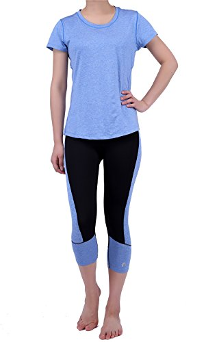 2er-Sets Stretch Activewear Damen Gym Yoga T-Shirt und Leggings Hose Workout Outfit -  Blau -  Groß