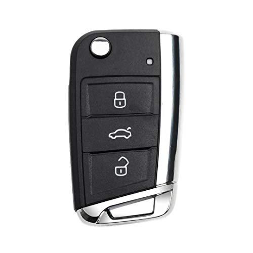 GUIMEI para VW Volkswagen MK7 Golf 7 Skoda Octavia Seat Passat Skoda Leon 3 Botones Control Remoto Carcasa de Llave de Coche Auto