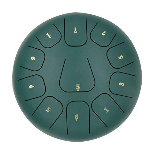 CMAO Stahlzunge Trommel, Schlagzeug Schellentrommel 8 Noten 10 Zoll, mit Einer Ausbuchtung für eine tragbare Tontherapie Meditation Entspannung Reise,Grün