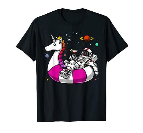 宇宙飛行士乗馬ユニコーンフロートおかしい宇宙プールパーティーファンタジー空想科学小説女性男性子供 Tシャツ