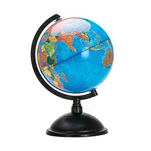Lorenlli Mapa del globo terráqueo del océano azul de 20 cm con soporte giratorio Geografía Juguete educativo Mejorar el conocimiento de la Tierra y la Geografía
